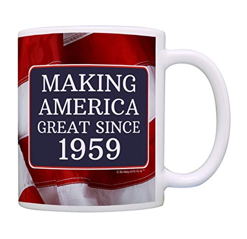60th Birthday Gifts For All Making American Great Since 1959 Birthday Gift Coffee Mug Tea Cup USA Flag