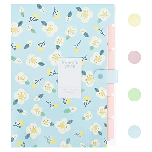 - Lanivas Floral Print Expanding File Folder A4 Letter Size 5 Pockets Heavy Duty Accordion Document Organizer with Snap Closure - Free Labels