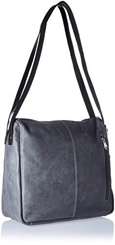 Piel Top zip One Charcoal Bag Honey Shoulder Leather Size Handbag Errnq05gxw