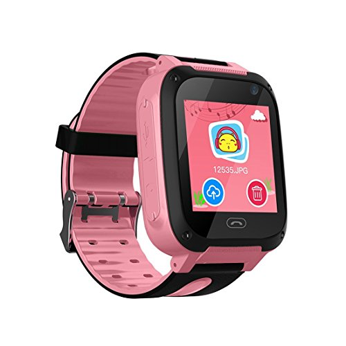Themoemoe Kids GPS Smartwatch, Anti-Lost SOS Smart Watch Bracelet for Children Girls Boys with Camera Pedometer Compatible for iPhone Android (Pink)