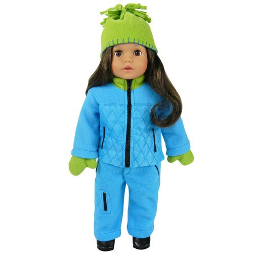 Piping Winter Gloves (18 Inch Doll Clothes 4 Piece Doll Outfit Sophia's Winter Set Fits 18 Inch American Girl Dolls & More! (Doll Shoes sold separately) Cozy Blue Jacket/Pants, Lime Green Hat & Gloves)