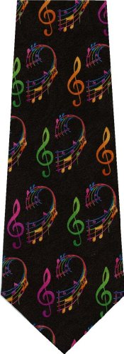 Music Notes in Color Necktie Tie