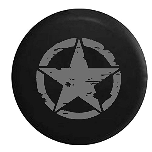 Fj Cruiser Tire Cover - Stealth - Oscar Mike On Mission Vintage Star Spare Tire Cover OEM Vinyl Black 32-33 in