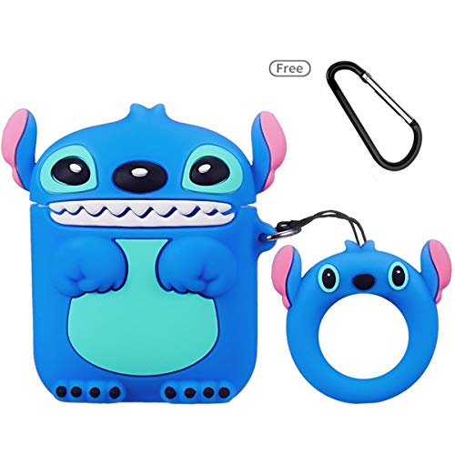 Jocci for Airpods 1&2 Case,Cute Funny Cartoon Character Soft Silicone Airpod Cover,Kawaii Fun Cool Keychain Design Skin,Fashion Animal Lilo Cases for Girls Kids Teens Boys Air pods (Blue Stitch 3D)