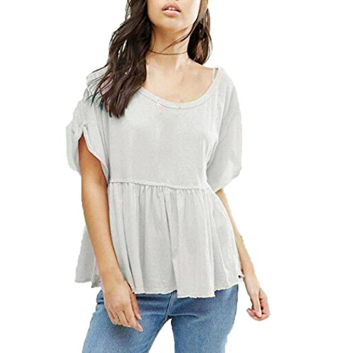 [Sunsee Women Summer Short Sleeve Loose Casual Tee Shirt Ladies T Shirt Women Summer Fashion Short Sleeve Loose Casual Tee Shirt Ladies Tops (L, Gray)] (Baci T-shirt)