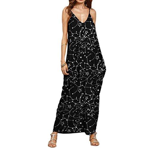 Gonkoma Women Summer Sling V Neck Sleeveless Maxi Long Dress Casual Loose Dress