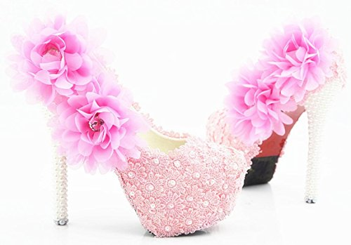 YCMDM donna di grandi dimensioni da sposa Scarpe bene con scarpe sexy rotondo del merletto di rosa cipria Fiore bocca superficiale , 14 cm with high reservation , 45