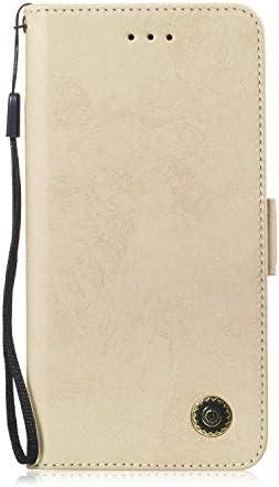 LARPOTE Handyhülle für Sony XA2Hülle, Tasche Kompatibel Case Schutzhüllen aus Klappetui mit Kreditkartenhaltern, Ständer, Magnetverschluss-Gold.