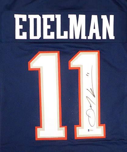 (New England Patriots Julian Edelman Autographed Blue Jersey Beckett BAS Stock #148303)