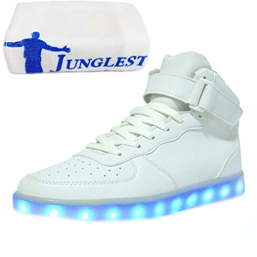 [Present:small towel]JUNGLEST® 7 Colors Led Trainers High Top Light Up Shoes For Unis White WLA3f