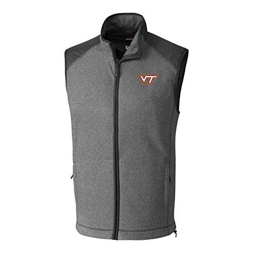 Cutter & Buck NCAA Virginia Tech Hokies Adult Men Cedar Park Full Zip Vest, Large, Charcoal Heather