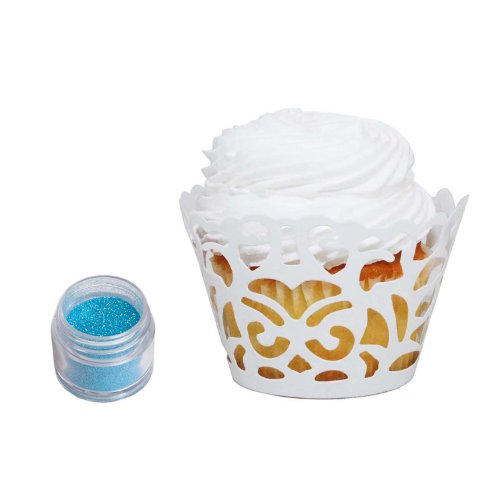 Dress My Cupcake DMC31481 24-Pack Laser Cut Cupcake Wrappers and Edible Glitter Dust Decorating Kit, 5gm, Light Blue