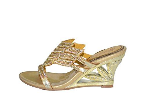 Con Zapatos Mujer Dorado Tacón Meijili Y65wqB5
