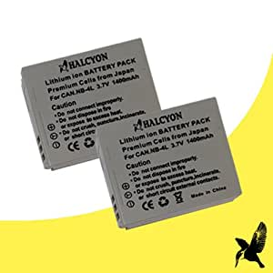 Two Halcyon 1400 mAH Lithium Ion Replacement Battery for Canon NB-4L and Canon PowerShot Elph 100 HS, 300 HS, SD1000, SD1100 IS, SD1400 IS, SD200, SD300, SD40, SD400, SD430, SD450, SD600, SD630, SD750, SD780 IS, SD940 IS, SD960 IS, TX1