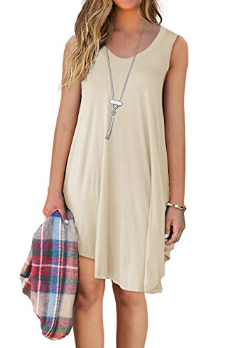 QIXING Women's Sleeveless Casual Loose Tank Summer Dress Beige-L
