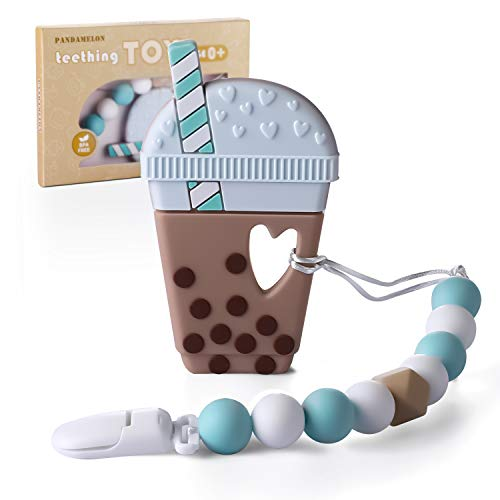 Baby Teething Toys, Bubble Tea Teether with Pacifier Clip Holder Kit, for Newborn Infants, BPA Free Silicone, for Boy/Girl, by Pandamelon