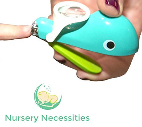 NAIL WHALE - #1 Best Baby & Child Nail Clippers - 'Eats' Nail Clippings - Magnifier & Finger Safety Stabilizer - By Nursery Necessities
