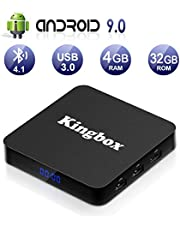 Android 9.0 TV BOX, Kingbox K4S Smart TV Box Quad Core 4GB RAM+32GB ROM, BT 4.1, 4K*2K UHD H.265 /HDMI /USB 3.0/ 100 LAN WiFi Media Player, Android Set-Top Box