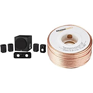 Yamaha NS-SP1800BL 5.1-Channel Home Theater Speaker System and AmazonBasics 16-Gauge Speaker Wire - 100 Feet Bundle