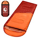 VENTURE 4TH Hiking Sleeping Bag - Compact Summer Sleeping Bag for Adults and Kids | Orange/Red