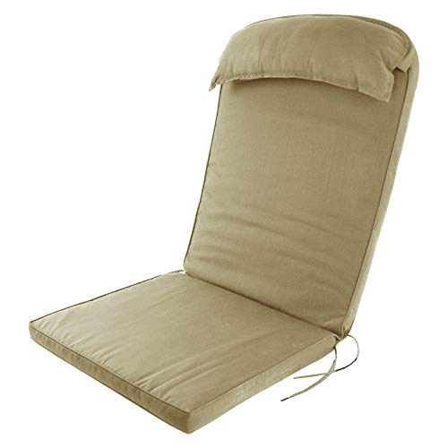(Plant Theatre Adirondack Chair Luxury High Back Cushion with Head Pillow in Warm Beige)