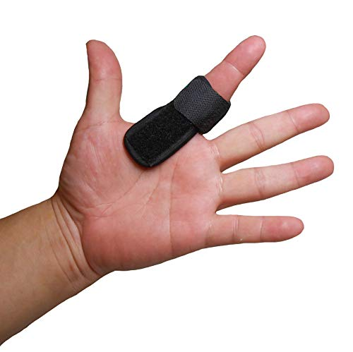 IRUFA, FS-OS-11, 3D Breathable Fabric Finger Splint, Stabilizer Brace Wrap Support for Trigger Broken, Curved Bent Mallet Locking Finger, Dislocation, Straightener, Pain Relief Black, One PCS ()