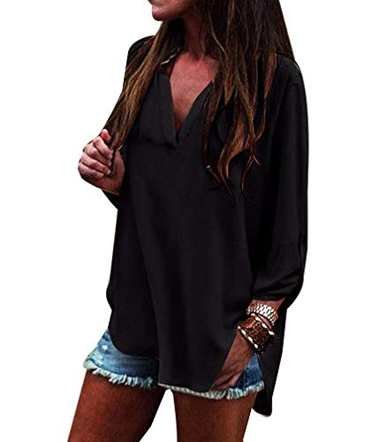 Shirt Cou Schwarz Chemisier Printemps Chemisiers Mode Casual Irrgulier breal Uni Manches Manche Button V Femme Elgante Tops Bouffant Longues UwYTxYqRAI