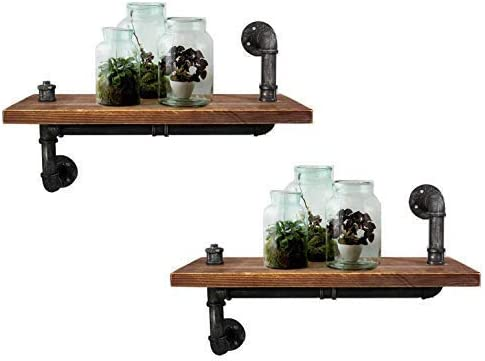 LOKKHAN Set of 2 24 inch Industrial Pipe Shelving Bookshelf,Rustic Wall Mounted Pipe Shelf,Vintage Home Decorative Floating Shelf,Industrial Shelves Wood Pipe Wall Rack