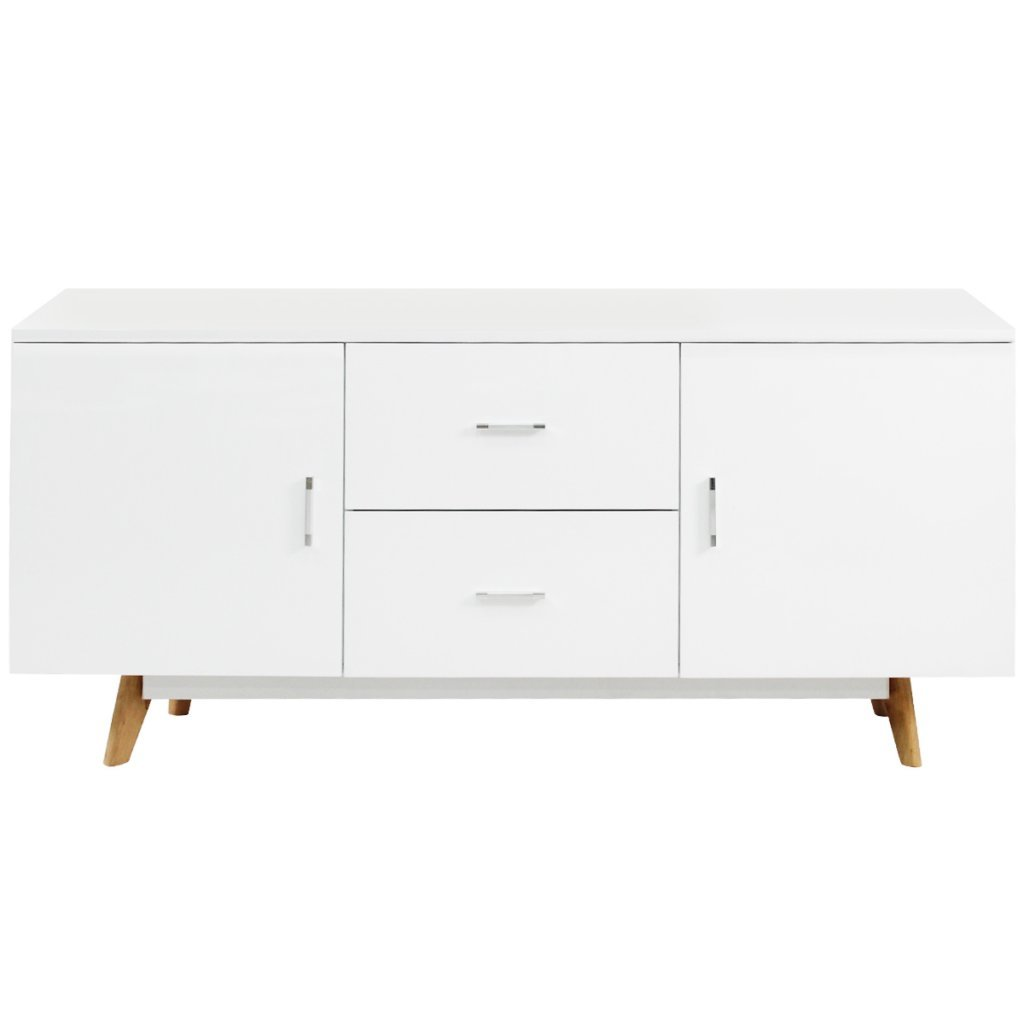 Anself White High Gloss Sideboard Cabinet Chest Drawers Kitchen Cupboard 2 Doors 2 Drawers