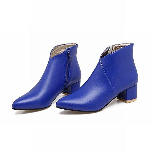 Mee Shoes Damen chunky heels spitz Reißverschluss ankle Boots Blau