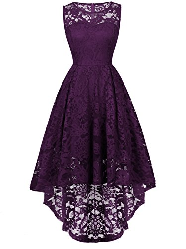 FAIRY COUPLE Woman's Hi-Low Sleeveless Vintage Wedding Party Cocktail Dress DL022(M,Grape) by FAIRY COUPLE