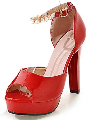 Toe Sandales Rouge Perle Spécial Aisun Peep Femme AIOWqF