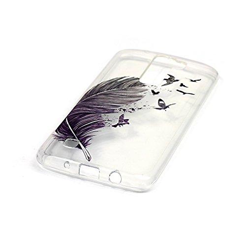 [Extremadamente Delgada] Funda Soft TPU TPU Silicona Transparent para LG K7 ,LG K7 Case Ultra Fina Cristal Clear, TOCASO Cute Pattern Cubierta Crystal Colored Pattern Brillante Bling Flexible Antigolp Pluma Negro