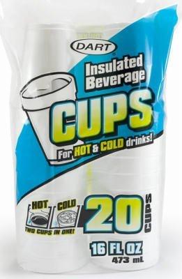 Dart Container 16FP20 20-Count 16-oz. White Foam Cups - Quantity 12