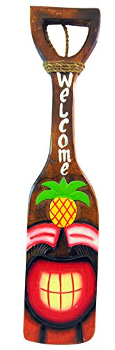TIki Mask Boat Oar Welcome Plaque Handmade Wooden Paddle Bar