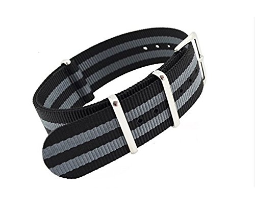 12fe13d5486 Buy MetaStrap 22mm Nylon Strap Zulu Watch Band with Black Grey Striped  Style Online at Low Prices in India - Amazon.in