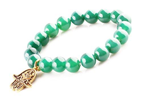 MBOX Buddha Energy Pendent Bracelet (Green Agate Golden Hamsa Hand Evil Eye)