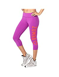 Zumba Wide Waistband Dance Fitness Compression Fit Print Capri Workout Leggings for Women