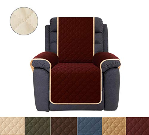 Recliner Cover, Reversible Quilted Furniture Protector, Ideal Recliner Slipcovers for Pets & Children, Water Resistant, Will Keep your Couch Stain, Dirt & Scratches-Free (Style1 Burgundy, 23