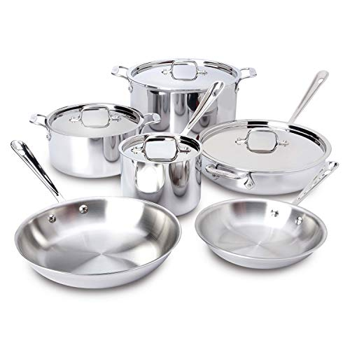 All-Clad 401877R Stainless Steel 3-Ply Bonded Dishwasher Safe Cookware Set, 10-Piece, Silver – 8400000960