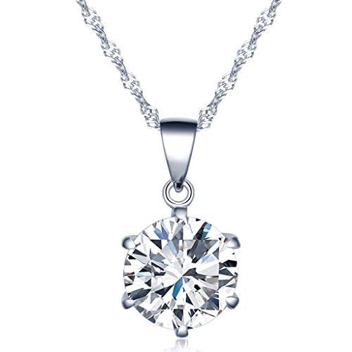 Infinito U Collares de Plata 925 Cadena de Clavícula Colgante de Diamante Brillante,Idea Regalo para Mujeres Chicas a buen precio