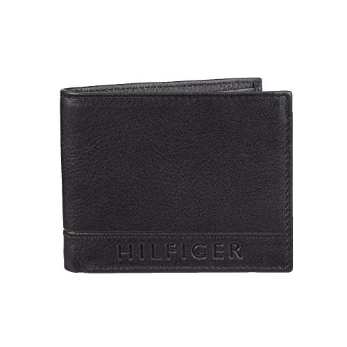 Tommy Hilfiger Mens Leather Wallet - RFID Blocking Slim Thin Bifold with Removable Card Holder and Gift Box