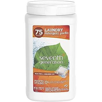 Seventh Generation Laundry Detergent Packs, Fresh Citrus & Sandalwood Scent, 75 Count