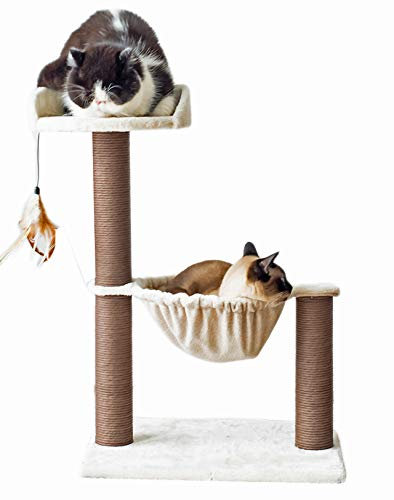Catry, Cat Tree Hammock Bed with Natural Sisal Scratching Posts and Teasing Feather for Kitten - 19x13x28 in