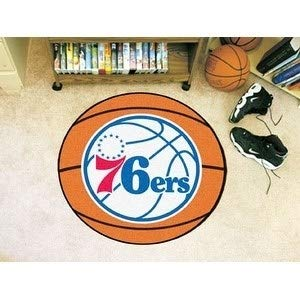 MISC 27-Inch NBA 76ers Mat Basketball Shaped Round Rug Floor Carpet for Boys Bedroom Living Room Playarea Circle Area Rug Team Logo Sports Fans Gift Non-Skid Vinyl Backing, Soft Nylon, Blue White (Basketball Shaped Mat)