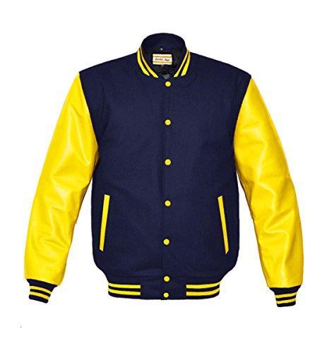 luvsecretlingerie Superb Genuine Yellow Leather Sleeve Letterman College Varsity Men Wool (Navy Letterman Wool Jacket)