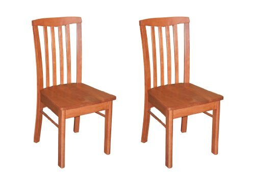 (East West Furniture HLC-CHR-W Chair Set for Dining Room with Wood Seat, Light Cherry Finish, Set of 2)