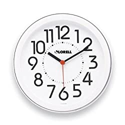 Lorell Round Profile Radio Controlled Wall Clock - Digital - Quartz - Atomic