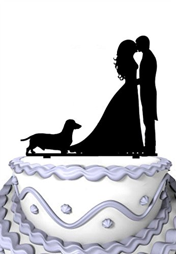 Meijiafei Bride and Groom Kiss with Pet Dog Family Wedding Cake Topper