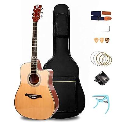 Acoustic Guitar, Glossy Guitar Cutaway 41in Full-Size All-Wood Beginner Acoustic Guitar Starter kit, Natural Color, by Vangoa
